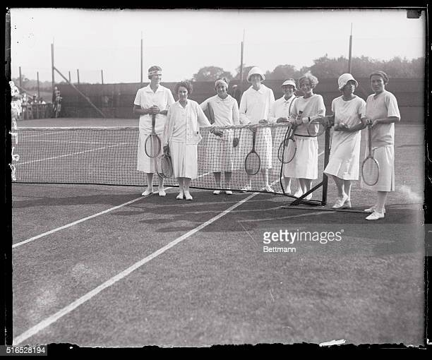 Galaxy of Tennis Stars in Women's Tourney at Manchester Massachusetts The above photo shows a group of woman tennis stars who are competing in the...