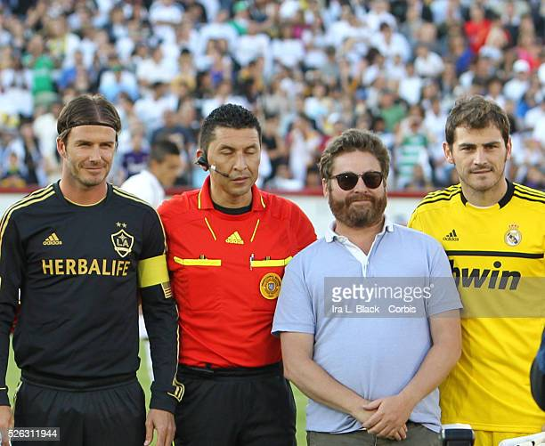LA Galaxy player David Beckham Real Madrid Captain Iker Casillas and Movie Star Zach Galifianakis prior to the Herbalife World Football Challenge...