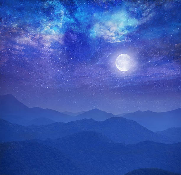 Galaxy With Moon In Mountains Wall Art
