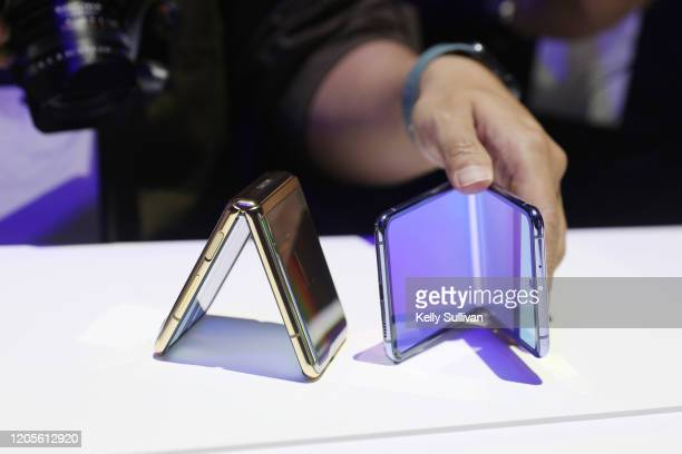 Galaxy Z Flip phone is seen at Samsung's Galaxy UNPACKED at The Palace of Fine Arts on February 11, 2020 in San Francisco, California.