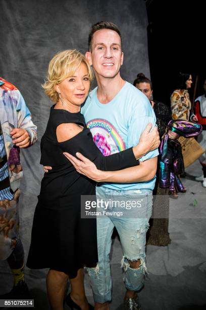 GAlberta Ferretti and Jeremy Scott are seen backstage ahead of the Moschino show during Milan Fashion Week Spring/Summer 2018 on September 21 2017 in...
