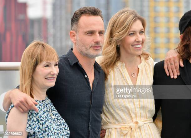 Gale Ann Hurd Andrew Lincoln and Denise M Huth attend 'The Walking Dead' Photo Call during ComicCon International 2018 at Andaz San Diego on July 20...