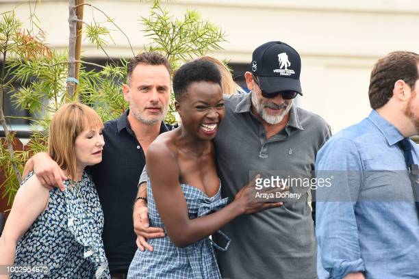 Gale Anne Hurd Andrew Lincoln Danai Gurira and Jeffrey Dean Morgan attend 'The Walking Dead' press line at ComicCon International 2018 on July 20...