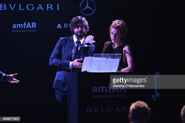 Gale Harold seen on stage during the amfAR Milano 2014 Gala Dinner and Auction as part of Milan Fashion Week Womenswear Spring/Summer 2015 on...