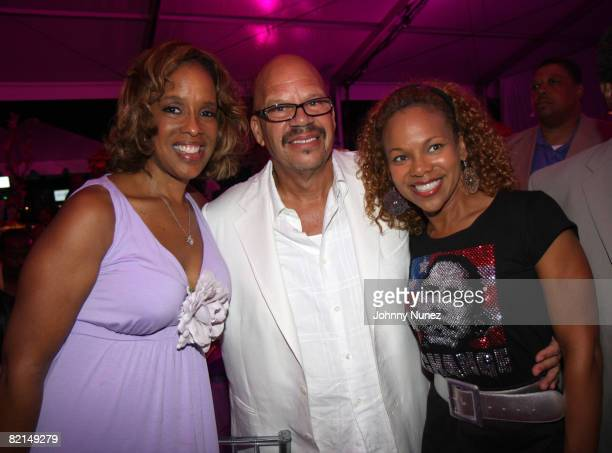 Gale King Tom Joyner and Donna RichardsonJoyner attend the 9th annual Art for Life benefit gala on July 19 2008 in East Hampton New York