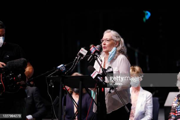 Gale Rathbone daughter of Don Lewis speaks on the behalf of her family during a news conference at Riverhills Church of God on August 10 2020 in...