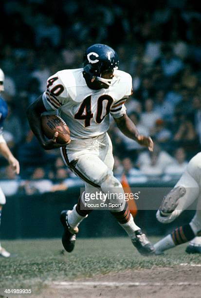 Gale Sayers of the Chicago Bears carries the ball against the Detroit Lions during an NFL football game circa 1965 at Tiger Stadium in Detroit...