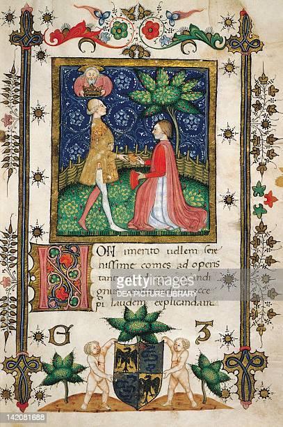 Galeazzo Maria Sforza receiving the Liber Iudiciorum from Raffaele Vimercati miniature from a manuscript 15th Century