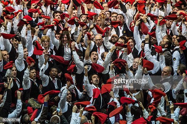 'Galejadors' celebrate beneath the selected pine tree inside the church during 'La Festa del Pi' in the village of Centelles on December 30 2015 in...