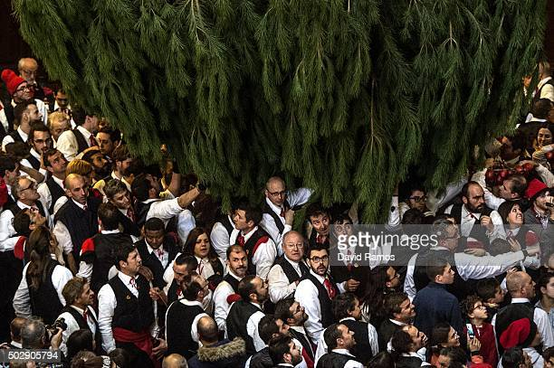 'Galejadors' gather beneath the selected pine tree inside the church during 'La Festa del Pi' in the village of Centelles on December 30 2015 in...