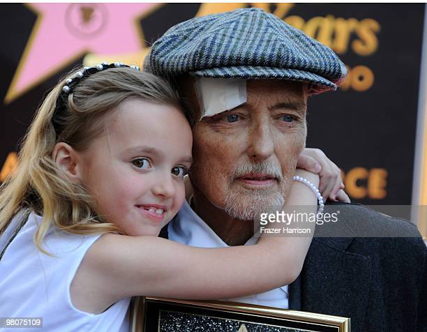 Galen Grier Hopper poses with her father actor Dennis Hopper who was honored with the 2403rd Star on the Hollywood Walk of Fame on March 26 2010 in...