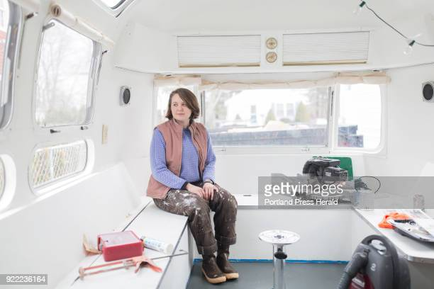 Galen Koch poses for a portrait inside of her Airstream trailer that she will soon take on the road to gather stories in various yearround Maine...