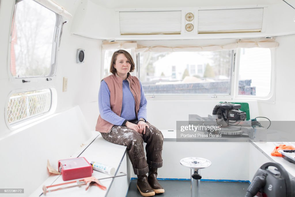 Galen Koch poses for a portrait inside of her Airstream trailer that she will soon take on the road to gather stories in various year-round Maine coastal communities for her project The First Coast.