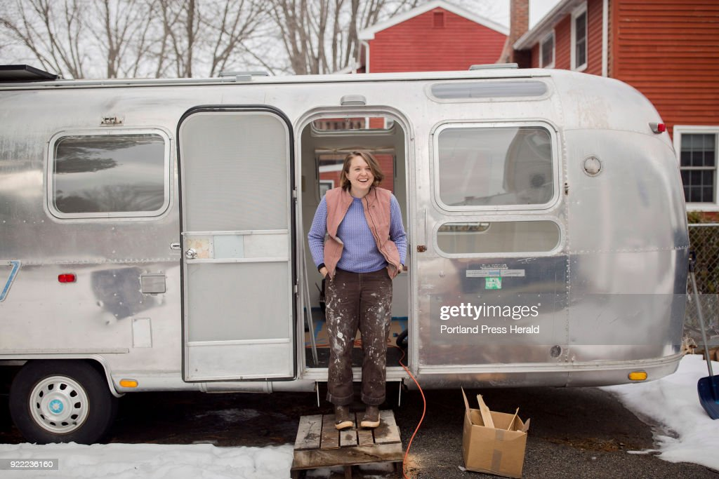 Galen Koch poses for a portrait outside of her Airstream trailer that she will soon take on the road to gather stories in various year-round Maine coastal communities for her project The First Coast.