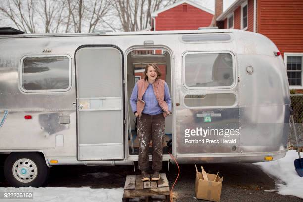Galen Koch poses for a portrait outside of her Airstream trailer that she will soon take on the road to gather stories in various yearround Maine...