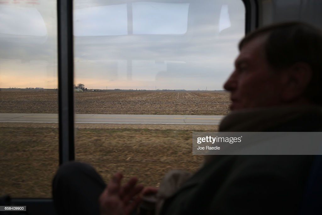 Galen Lambeth, who is traveling to Nebraska, enjoys the sightseer lounge car on Amtrak's California Zephyr during its daily 2,438-mile trip to Emeryville/San Francisco from Chicago that takes roughly 52 hours on March 23, 2017 in Galesburg, Illinois. President Trump has proposed a national budget that would terminate federal support for Amtrak's long distance train services, which would affect the California Zephyr and other long distance rail lines run by Amtrak.