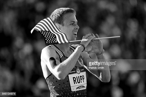 Galen Rupp celebrates after winning the Men's 10000 Meter Final during the 2016 US Olympic Track Field Team Trials at Hayward Field on July 1 2016 in...