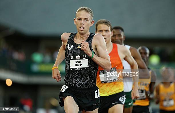 Galen Rupp celebrates runs to victory in the Mens 10000 Meter during day one of the 2015 USA Outdoor Track Field Championships at Hayward Field on...