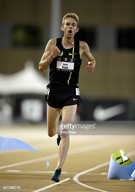 Galen Rupp celebrates winning the men's 1000 meter final during day 2 of the USATF Outdoor Championships at Hornet Stadium on June 26 2014 in...