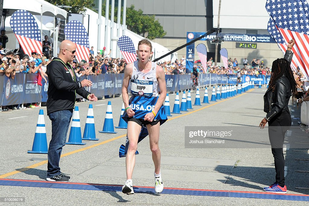 Galen Rupp finishes in first place finish in the U.S. Olympic Team Trials Men's Marathon on February 13, 2016 in Los Angeles, California.