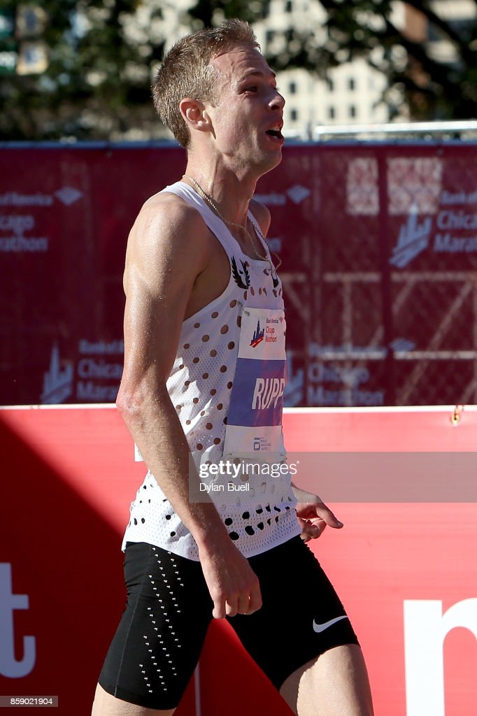 Galen Rupp of the United States celebrates after winning the men's race with a time of 2:09:20 during the Bank of America Chicago Marathon on October 8, 2017 in Chicago, Illinois.
