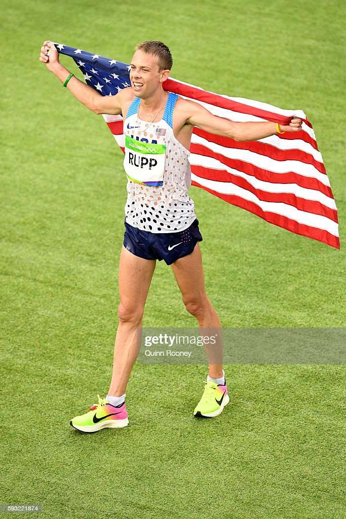 Galen Rupp of the United States celebrates as he wins bronze during the Men's Marathon on Day 16 of the Rio 2016 Olympic Games at Sambodromo on August 21, 2016 in Rio de Janeiro, Brazil.