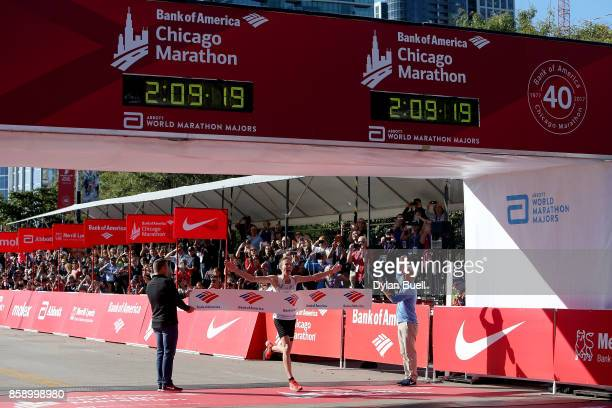 Galen Rupp of the United States wins the men's race with a time of 20920 during the Bank of America Chicago Marathon on October 8 2017 in Chicago...