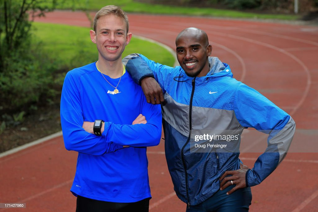 Galen Rupp of the USA and Mo Farah of Great Britain pose for a portrait at the Nike campus on April 13, 2013 in Beaverton, Oregon.