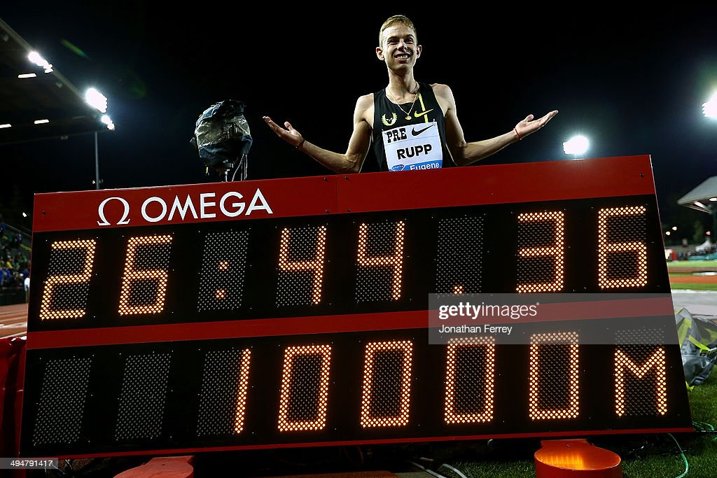 Galen Rupp of USA pose for a photo after setting an American record of 26:44:36 after winning the 10,000m during day 1 of the IAAF Diamond League Nike Prefontaine Classic on May 30, 2014 at the Hayward Field in Eugene, Oregon.