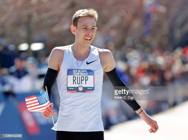 Galen Rupp reacts after he crossed the finish line to win the Men's U.S. Olympic marathon team trials on February 29, 2020 in Atlanta, Georgia.