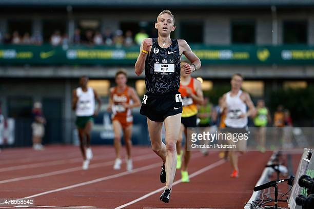Galen Rupp reacts as he crosses the finish line to win the Men's 10000 meter run during day one of the 2015 USA Outdoor Track Field Championships at...