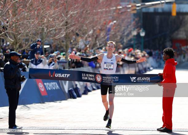Galen Rupp reacts as he crosses the finish line to win the Men's U.S. Olympic marathon team trials on February 29, 2020 in Atlanta, Georgia.