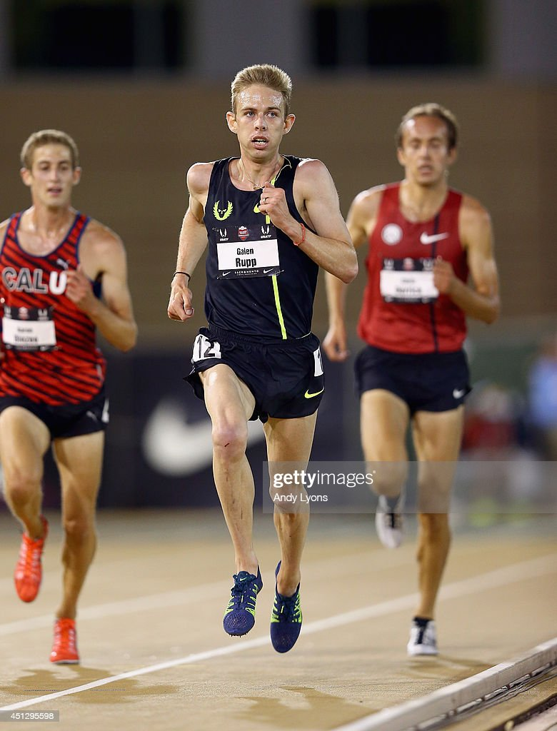 Galen Rupp runs to victory in the Men's 10000 Meter Run on day 2 of the USATF Outdoor Championships at Hornet Stadium on June 26, 2014 in Sacramento, California.