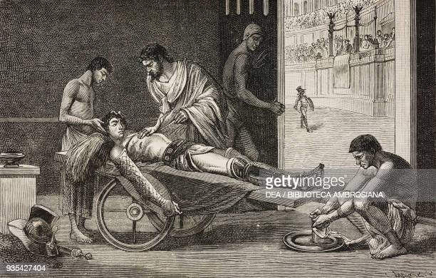 Galen treating a wounded gladiator in the coliseum of Pergamon, 2nd century, illustration by C Gilbert, Know Yourself, Notions of physiology to youth...