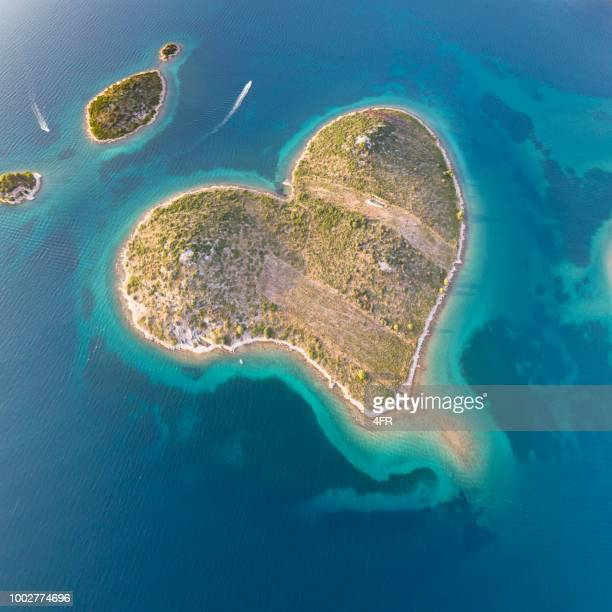 galešnjak, heart love island, croatia - croatia stock pictures, royalty-free photos & images