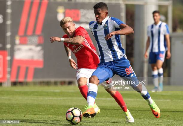 Galeno of FC Porto B with Goncalo Rodrigues of SL Benfica B in action during the Segunda Liga match between SL Benfica B and FC Porto B at Caixa...