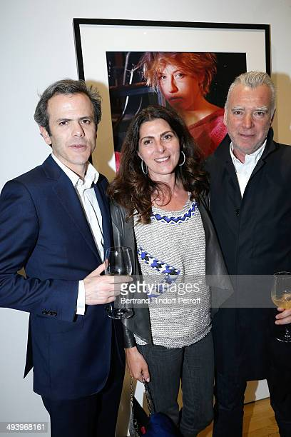 CEO Galeries Lafayette Guillaume Houze Denise Vilgrain and Galerist Patrick Seguin attend the Pharrell Williams' Private Concert at Galerie Perrotin...
