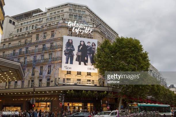 galeries lafayette in paris - galeries lafayette paris stock photos and pictures