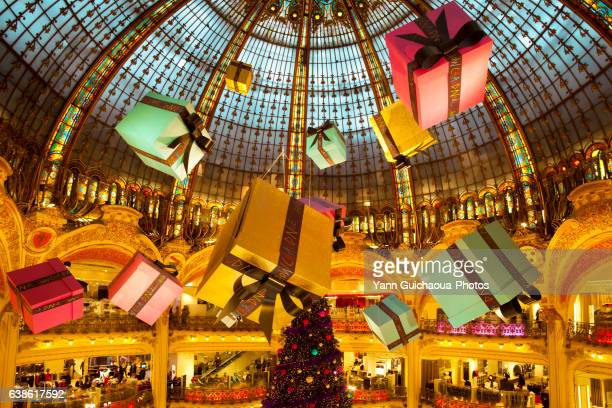 galeries lafayette, paris, france - galeries lafayette paris stock photos and pictures