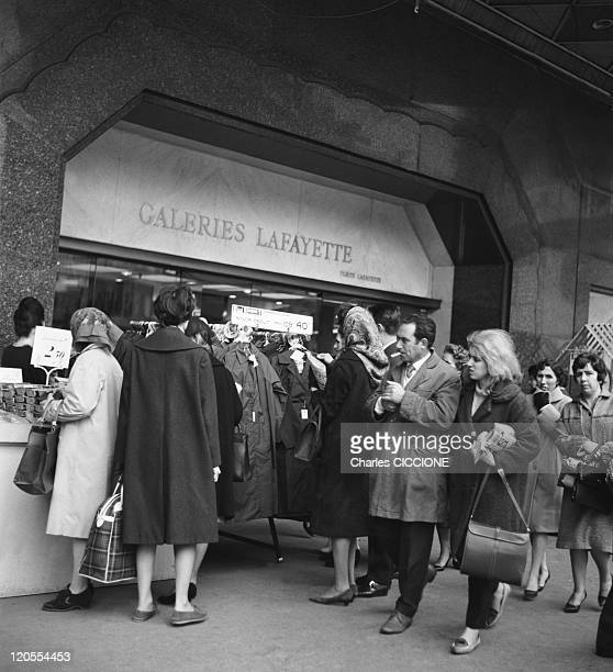 Galeries Lafayette Store In Paris France In 1962 Passerbies in front of the Galeries Lafayette