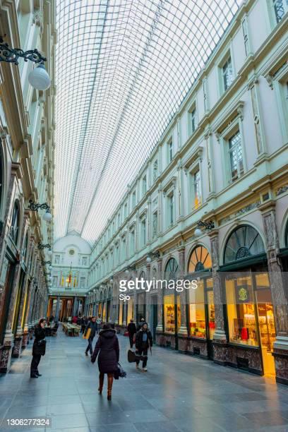 "galeries royales saint-hubert shopping street in brussels - ""sjoerd van der wal"" or ""sjo"" stock pictures, royalty-free photos & images"