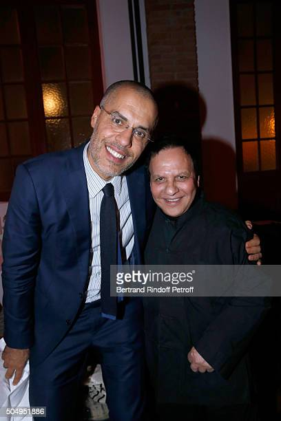 Galerist Kamel Mennour and Azzedine Alaia attend the 'Jean Nouvel and Claude Parent Musees a venir' Exhibition Opening at Galerie Azzedine Alaïa on...