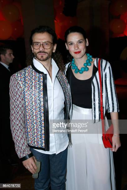 Galerist Lorenzo Fischi and Laura Salas Redondo attend the 'Bal Jaune Elastique 2017' Dinner Party at Palais Brongniart during FIAC on October 20...