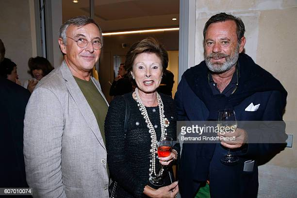 Galerist Pierre Passebon, Marie-Louise de Clermont Tonnerre and Louis Benech attend the 4O Rue de Sevres : Preview at the Head Offices of Both Kering...