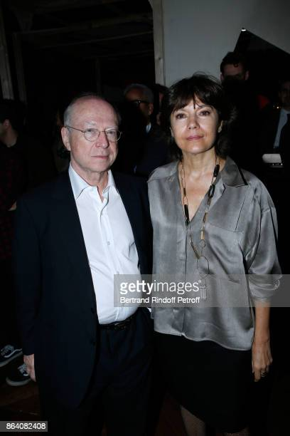 Galerists Daniel Templon and Nathalie Obadia attend the 'Bal Jaune Elastique 2017' Dinner Party at Palais Brongniart during FIAC on October 20 2017...