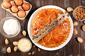 galette des rois, epiphany cake with ingredient and crown