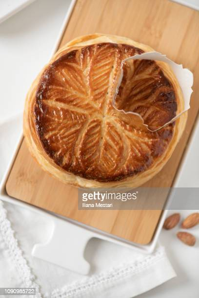 galette des rois - marzipan stock pictures, royalty-free photos & images