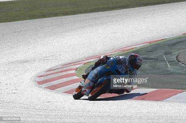 gAlex Rins of Spain and Estrella Galicia 00 rounds the bend during the MotoGp of Catalunya Qualifying at Circuit de Catalunya on June 14 2014 in...