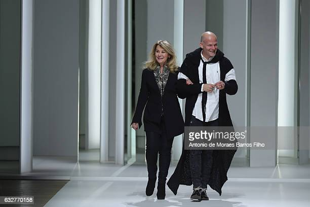Galia Lahav and Sharon Sever walk the runway during the Galia Lahav Haute Couture Spring Summer 2017 show as part of Paris Fashion Week on January 26...
