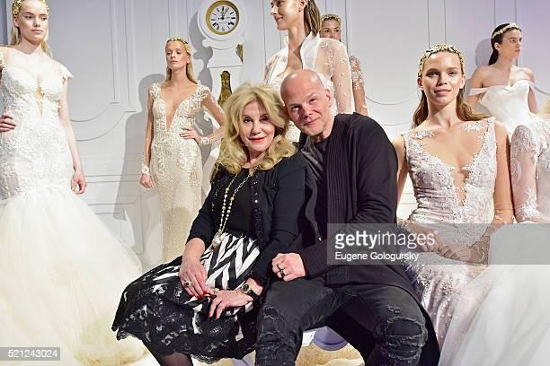 Galia Lahav Sharon Sever and models pose during the Galia Lahav Bridal Fashion Week Spring/Summer 2017 presentation on April 14 2016 in New York City